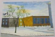 Картинка, рисунок, картина «Зима. Дома» акварель «Андреев Н.Ф.» №5388