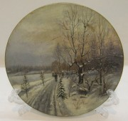 Тарелка старинная «зима», панно, Швеция начало 20 века №5801