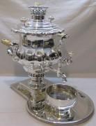 Самовар старинный угольный «ваза», с набором, серебрение, «Шемарин» 19 век №1216