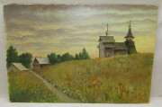 Картина «Кижи», картон, масло 1982 год №6221