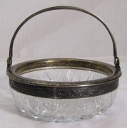 Конфетница, вазочка старинная, хрусталь, серебро 875 пр №6387