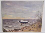 Картина «Корабль» оргалит, масло, СССР №6429
