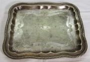 Поднос старинный прямоугольный, цезалировка, «Fraget» Варшава 19 век №6975