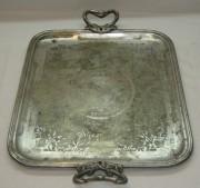 Поднос с ручками, серебрение, «Fraget» Варшава 19 век №1488