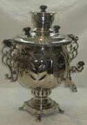 Самовар на дровах «ваза» с дубовыми листьями, покрыт никелем, на 5 литров №530
