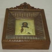 Икона в киоте «Господь Вседержитель», серебро 84 пробы, Россия 19 век №1670