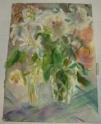 Картина «Белые пионы и лилия» Рахманова Н.С. 2000 год №1649