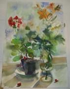 Картина «Цветы в вазе и горшке» Рахманина Н.С. 1990 год №1651