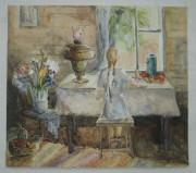 Картина «С самоваром у окна» акварель №1659