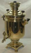 Самовар на дровах «банка», латунный, на 7 литров, «Т.К.» 1920-е годы №536