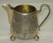 Сливочник старинный, серебро 84 пробы, золочение, в русском стиле №1801
