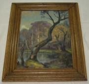 Картина «Лесное озеро», масло, картон, Г. Зимин 1951 год №1815