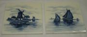 Плитка старинная, 2 штуки, «Мельница. Корабль» №1834