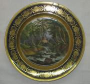 Тарелка старинная, фарфор, живопись, позолота, Европа 19 век №1859