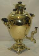Самовар угольный старинный «яйцо», латунный, на 4 литра, Россия начало 20 века №583