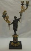 Канделябр старинный, подсвечник редкий, позолота, ампир, 19 век №3558